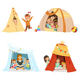 Cute little children playing and sitting in a tent teepee, set for label design. Cartoon detailed colorful Illustrations