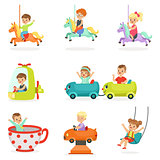 Children having fun in an amusement park, set for label design. Cartoon detailed colorful Illustrations