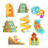 Colorful water slides and tubes, aquapark equipment, set for label design. Cartoon detailed Illustrations