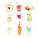 Funny cup, bottle, glass with drinks standing and smiling, set for label design. Cartoon detailed Illustrations isolated
