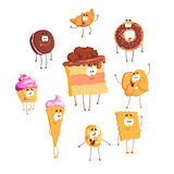 Funny sweets standing and smiling, set for label design. Cartoon detailed Illustrations