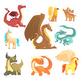 Mythological animals, set for label design. Dragon, unicorn, pegasus, griffin, cartoon detailed Illustrations