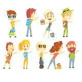 Hitch hike traveler person, set for label design. Cartoon detailed colorful Illustrations