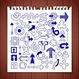 Doodle arrow symbols set