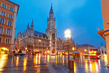 Marienplatz square at night in Munich, Germany