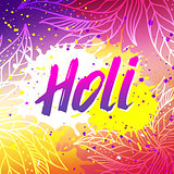 Holi festival vector banner with lettering