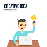 New creative idea concept. Flat vector illustration