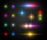Colorful sparkles vector light effects set