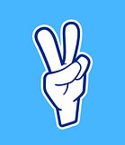 Peace hand sign. Vector icon in cartoon style