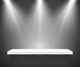 Empty white shelf illuminated by three spotlights