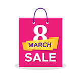 Flat shopping bag with 8 March Sale promo text