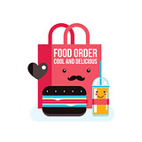 Delicious hamburger juice and bag Food order concept banner