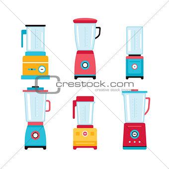 Blender Juicer Mixer Kitchen appliance icon set isolated on white