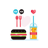 Hamburger and glass of juice Food banner