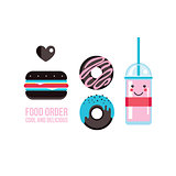 Delicious hamburger donuts and drink Food banner