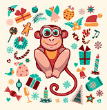 Cartoon monkey and element of new year