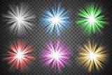 Glowing lights set. Colorful transparent bursts