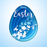 Easter postcard with cut blue colored paper egg