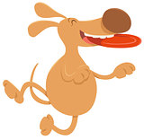 dog with frisbee cartoon character