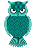 Big turquoise cartoon ornate owl