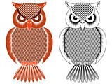 Black outline and orange owl stencil