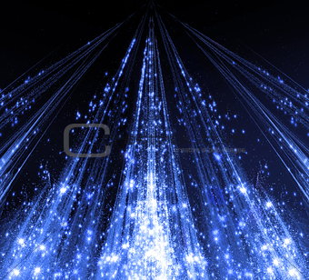 Abstraction with laser beams and flare sparks and the stars are shining in the darkness, blue monochrome light descends in the form . abstraction-based fractal graphics
