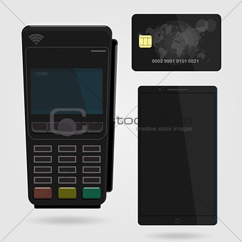 Pos terminal confirms the payment by debit credit card. Nfc payments concept.