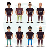 Character mens set on a white background. People with a beard, bald, with a mustache and glasses. Stylish high detailed graphic. Cartoon male.