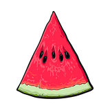Triangular slice of ripe watermelon, sketch style vector illustration