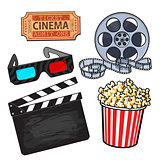 Cinema objects popcorn bucket, film roll, ticket, clapper, 3d glasses