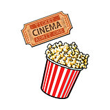 Cinema objects - popcorn bucket and retro style ticket