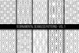 Set of universal different geometric seamless patterns