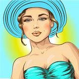 Beautiful summer beach woman, vector illustration