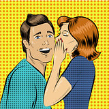 Vector illustration in pop art style woman whisper to a man