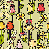 Vector seamless pattern of hand drawn line art flower.