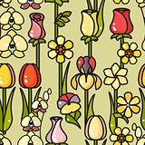 Vector seamless pattern of hand drawn line art flower.