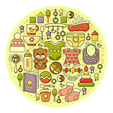 Vector  cute colorful baby icon. Circle background.