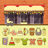 Vector illustration of cute colorful baby icon and shop facade.