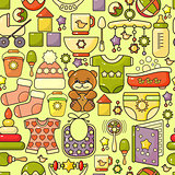 Vector seamless pattern. Cute baby accessory,  toy, wear.