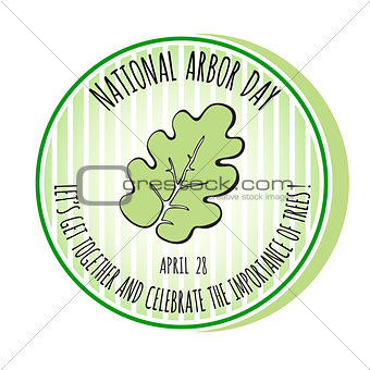 Arbor Day icon. Oak leaf. Vector illustration.