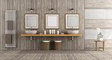 Minimalist wooden and concrete bathroom
