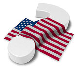 question mark and flag of the usa - 3d illustration