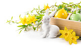 Easter rabbit eggs spring flowers narcissus