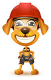 Labor day. Yellow dog builder in protective helmet smile