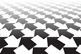 Black and white arrows. Abstract background.