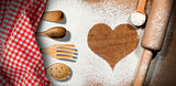 Baking Background with Heart of Flour