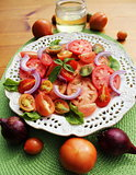 salad of fresh tomatoes with basil and olive oil