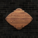 3D blank wooden sign on a brick wall