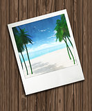 3D background with holiday photograph on wooden texture