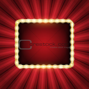 Abstract starburst background with neon frame